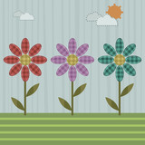 patchwork flowers poster