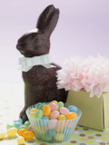 chocolate easter bunny, coloured sugar eggs & easter gift