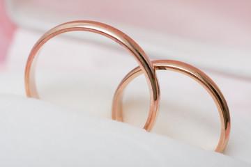 Wedding rings on box.