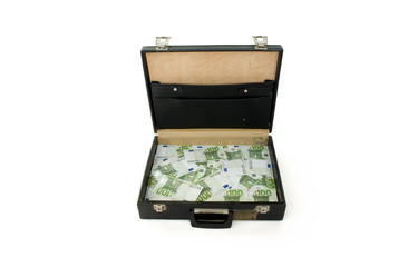 Briefcase with one hundred euros bills