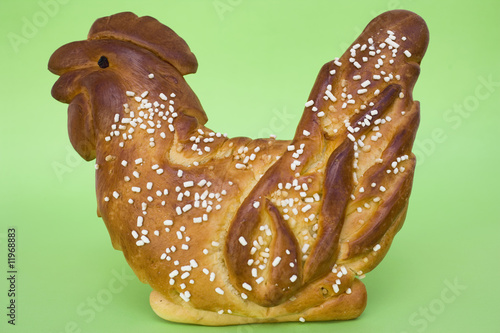 chicken made from bread dough with pearl sugar (easter)