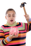 Surprised girl with moneybox and hammer poster