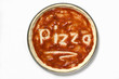 pizza base with tomato sauce and the word 'pizza'