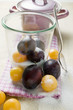 plums, mirabelles, sugar, jam jar, pan