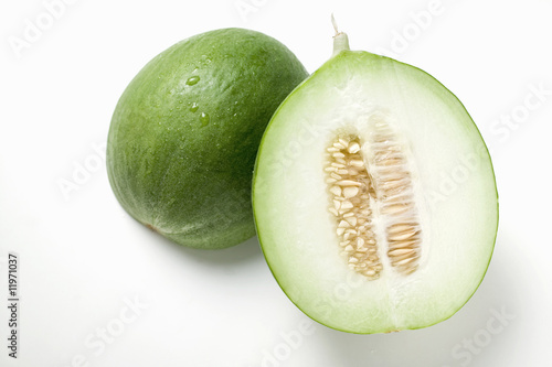 green honeydew melon, halved