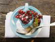 redcurrants in glass jug, sugar, gooseberries, raspberry