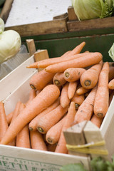 carrots in crate at a market
