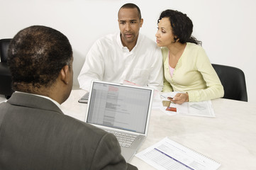 Couple Working with Accountant