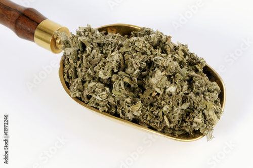 dried artemisia argyi leaves in a scoop