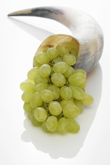 green grapes in a horn