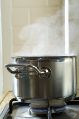 pan of boiling water on a hob
