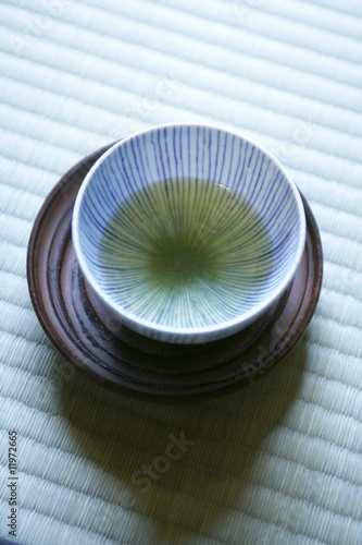bowl of green matcha tea