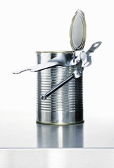 a food tin with a tin opener