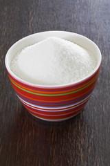 white sugar in a small bowl