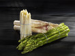three types of asparagus in bundles