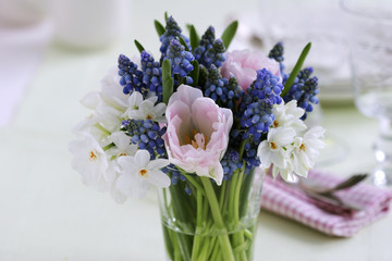 tulips, narcissi and grape hyacinths