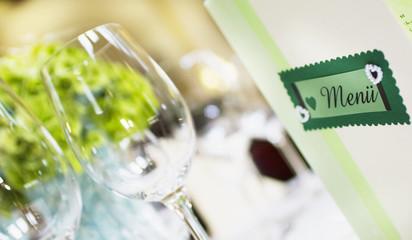 menu and wine glasses