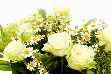 bouquet of white roses, chamomile flowers and grasses