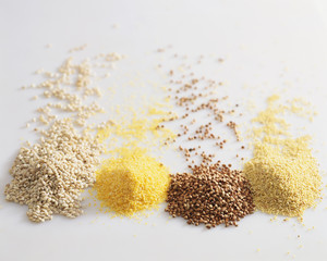 cereal grains: wheat, maize, buckwheat and millet