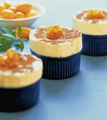 orange sorbet in two moulds with grand marnier
