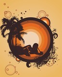a woman silhouette relaxing under palm trees