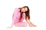 cute brunette in pajamas poster
