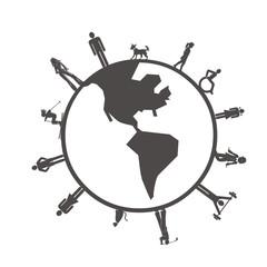 people on the globe
