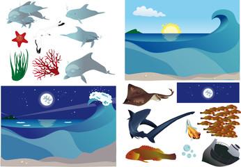 Scenari subacquei con elementi separati