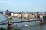 Budapest Chain Bridge over Danube with boats poster