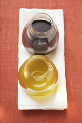 olive oil and balsamic vinegar in glasses