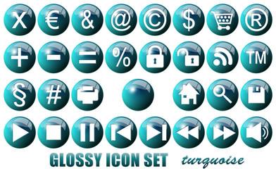 Glossy Icon Set Turquoise