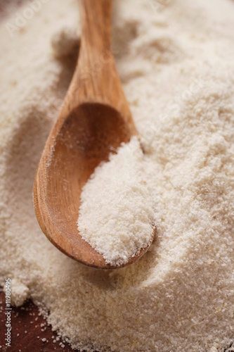 white cornmeal with kitchen spoon