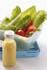 salad in a lunchbox, salad dressing in bottle