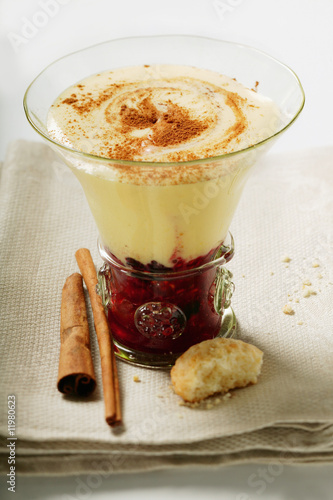 raspberry compote, madeira cream & cinnamon in glass, amaretti