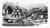 buffet with pies and seafood (illustration)