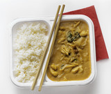 asian chicken in peanut sauce with white rice