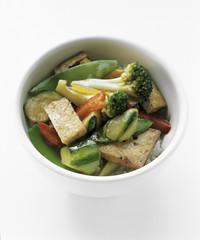tofu and vegetable stir fry over rice