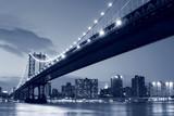 Manhattan Bridge and Manhattan skyline At Night - 11982296