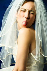 capricious bride showing her tongue