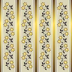 Golden floral stripes background (vector)