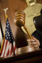 Gavel in judge's hand