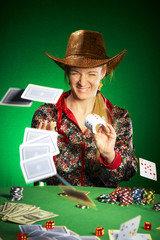 girl with a beard plays poker