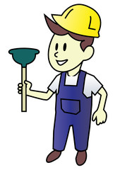 Plumber man with Plunger - Vector Illustration Cartoon