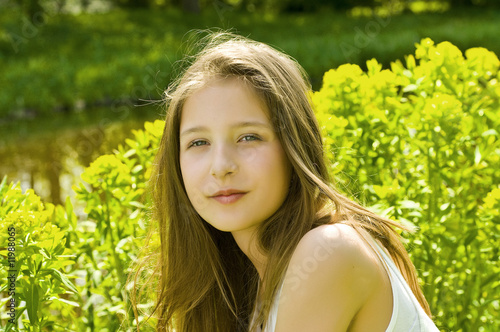 Cute young girl in a park