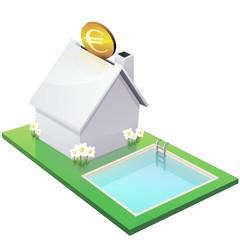 Maison blanche et investissement dans une piscine(détouré)
