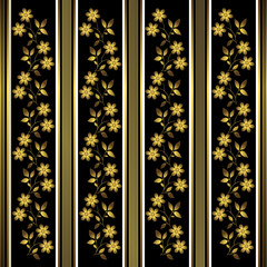Golden and black floral stripes background (vector)