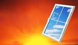 window on sundown sky poster