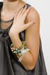 Fashion girl showing bracelet beads