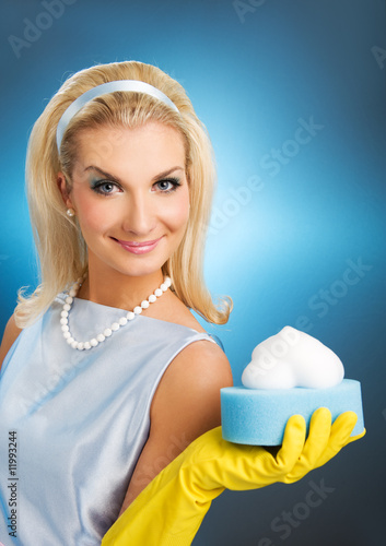 Beautiful happy housewife. Retro portrait