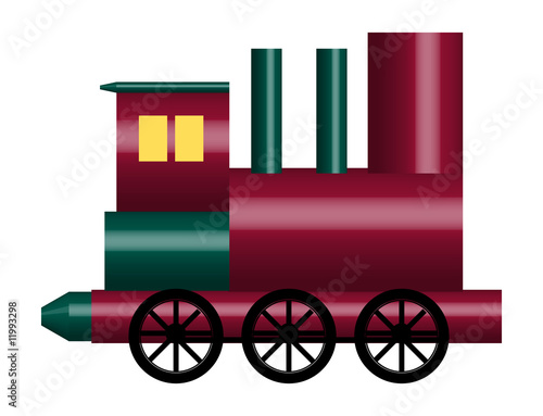 illustration of of shiny toy train on white